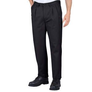 Unisex Black Pleated Work Pants