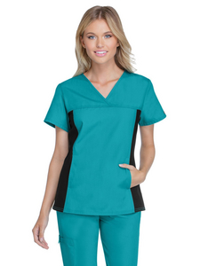 Cherokee Flexibles Women's V-Neck Knit Panel Top - Teal