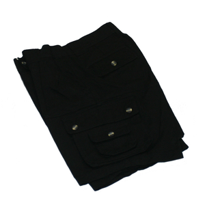 Unisex Black Cotton Cargo Shorts